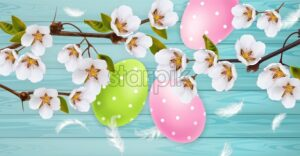 Cherry blossom and Easter colorful eggs Vector realistic. Spring holiday banner. 3d detailed poster template - starpik