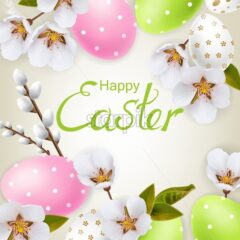 Cherry blossom and Easter colorful eggs Vector realistic. Spring holiday card. Delicate banner 3d detailed template - starpik