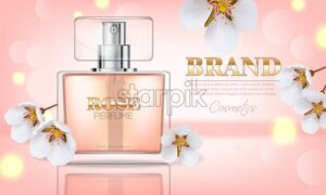 Cherry blossom perfume Vector realistic. Product packaging mockup. Fresh spring aroma. 3d template illustration - starpik