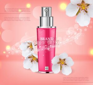 Cherry blossom spray Vector realistic. Product packaging mockup. Moisturizer hydration cosmetics. Detailed pink bottle with label design. 3d template illustration - starpik