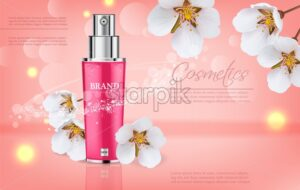 Cherry blossom spray Vector realistic. Product packaging mockup. Moisturizer hydration floral cosmetics. Detailed pink bottle with label design. 3d template illustration - starpik
