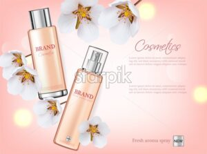 Cherry blossom spray cosmetics Vector realistic. Product packaging mockup. Moisturizer hydration cosmetics. Detailed pink bottle with label design. 3d template illustration - starpik