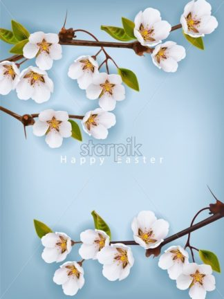 Cherry flowers border Vector realistic branches. Spring blossom. Holiday card - starpik