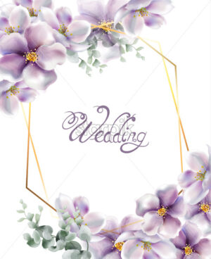 Cherry flowers wedding card watercolor Vector. Delicate spring blossom background - starpik