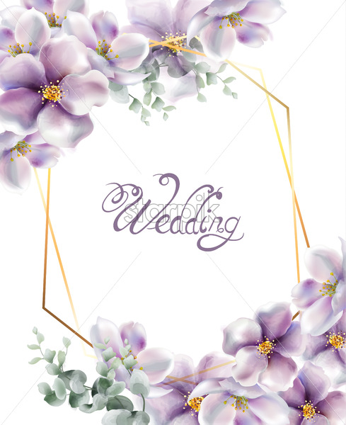 Cherry Flowers Wedding Card Watercolor Vector Delicate Spring