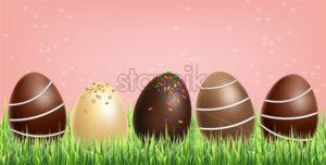 Chocolate eggs set Vector realistic. Milk chocolate and dark chocolate. 3d detailed poster or label collection - starpik
