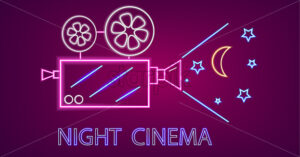 Cinema camera neon symbols Vector. Glowing sign dark background. Shinning billboard template - starpik