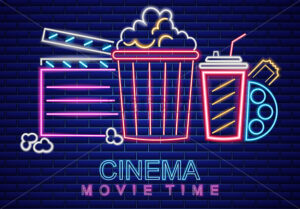 Cinema movie neon symbol Vector. Glowing sign dark background. Shinning billboard template - starpik