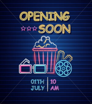 Cinema opening neon sign Vector. Glowing billboard dark background. Shinning templates movie festival symbol - starpik