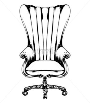 Classic armchair Vector. Royal style decotations. Victorian ornaments engraved. Imperial furniture decor illustration line art - starpik