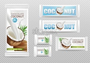 Coconut chocolates isolated Vector realistic mock up. Product packaging label design. 3d detailed illustration - starpik