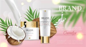 Coconut cream moisturizer Vector realistic. Product packaging mockup. Detailed white bottles with label design. 3d template illustration - starpik