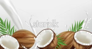 Coconut in milk splash Vector realistic. template tropic exotic background. Fruit yogurt or milk layout - starpik