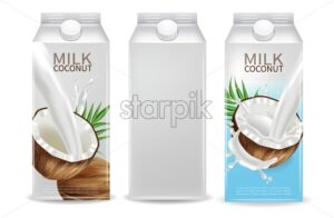 Coconut milk Vector realistic mock up. Milk splash label design. Product packaging 3d detailed container - starpik