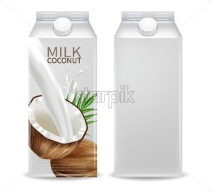 Coconut milk container Vector realistic mock up. Milk splash label design. Product packaging 3d detailed illustration - starpik