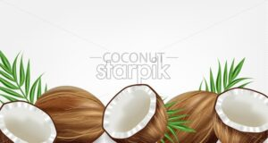 Coconuts Vector realistic. template tropic exotic background. Fruit yogurt or milk layout - starpik