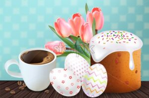 Coffee and Easter Traditional sweet bread Vector realistic. Easter Eggs. Holiday cards. Vintage decor - starpik