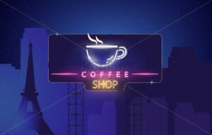 Coffee shop neon sign Vector. Glowing coffee cup symbol dark background. Cafe menu template - starpik