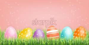 Colorful Easter eggs Vector realistic. Spring holiday banner. 3d detailed poster template - starpik