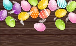 Colorful Easter eggs on wood background Vector realistic. Spring holiday banner. 3d detailed poster template - starpik
