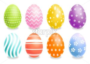 Colorful Easter eggs set Vector realistic. Spring holiday banner. 3d detailed poster template - starpik