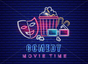 Comedy movie neon symbol Vector. Glowing sign dark background. Shinning billboard template - starpik