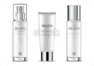 Cosmetics cream moisturizer hydration Vector realistic. Product packaging mockup. Detailed white bottles isolated. 3d template illustration - starpik