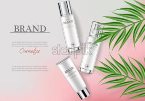 Cosmetics cream moisturizer hydration Vector realistic. Product packaging mockup. Detailed white bottles with label design. 3d template illustration - starpik