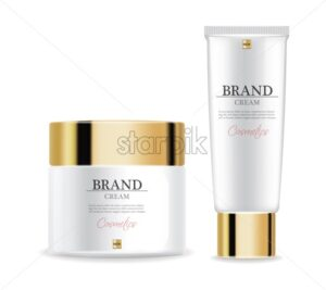 Cosmetics cream moisturizer isolated Vector realistic. Product packaging mockup. Detailed white bottles with label design. 3d template illustration - starpik