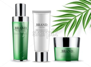 Cosmetics green cream and spray isolated Vector realistic. Product packaging mockup. Detailed bottles with label design. 3d template illustration - starpik