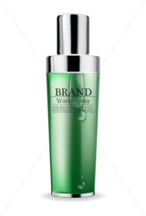 Cosmetics green cream and spray moisturizer hydration Vector realistic. Product packaging mockup. Detailed bottles with label design. Exotic palm leaves background. 3d template illustration - starpik