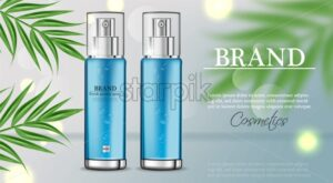 Cosmetics spray water moisturizer hydration Vector realistic. Product packaging mockup. Detailed bottles with label design. Exotic palm leaves background. 3d template illustration - starpik