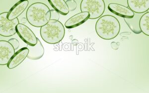 Cucumber Vector realistic. Fresh tasty slices vegetable detailed 3d illustration - starpik