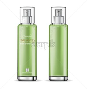 Cucumber cosmetics collection Vector realistic. Moisturizer hydration cosmetics. Product packaging mockup. Detailed green bottles with label design. 3d template illustration - starpik