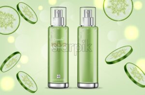 Cucumber cream collection Vector realistic. Moisturizer hydration cosmetics. Product packaging mockup. Detailed green bottles with label design. 3d template illustration - starpik