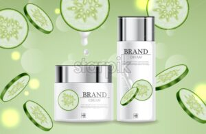 Cucumber cream collection Vector realistic. Moisturizer hydration cosmetics. Product packaging mockup. Detailed white bottles with label design. 3d template illustration - starpik
