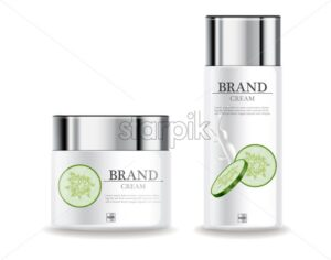 Cucumber cream moisturizer hydration Vector realistic. Product packaging mockup cosmetics. Detailed white bottles with label design. 3d template illustration - starpik