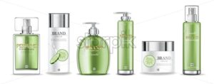 Cucumber creams and perfume collection Vector realistic. Moisturizer hydration cosmetics. Product packaging mockup. Detailed white bottles with label design. 3d template illustration - starpik