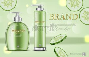 Cucumber soap and shampoo Vector realistic. Product packaging mockup cosmetics. Detailed white bottles with label design. 3d template illustration - starpik