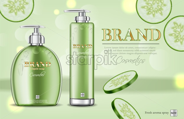 Cucumber soap and shampoo Vector realistic  Product packaging mockup  cosmetics  Detailed white bottles with label design  3d template  illustration