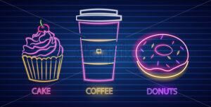 Cupcake, coffee and donut neon symbols Vector. Glowing sign dark background. Shinning billboard or menu template - starpik