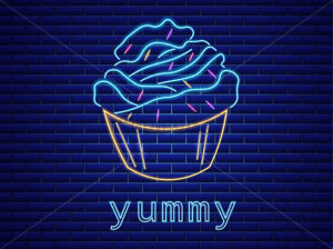 Cupcake neon symbols Vector. Glowing sign dark background. Shinning billboard or menu template - starpik