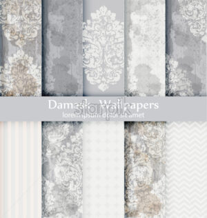 Damask patterns set collection Vector. Baroque ornament grunge background. Vintage decor. Trendy color fabric texture - starpik