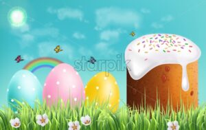 Easter Traditional sweet bread Vector realistic. Easter Eggs and rainbow background. Holiday card - starpik