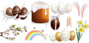 Easter Traditional sweet bread and colorful eggs Vector realistic set collection templates decor - starpik