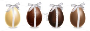 Easter chocolate eggs gift set Vector realistic. Milk chocolate and dark chocolate. 3d detailed poster or label collection - starpik