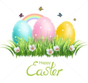 Easter colorful eggs Vector realistic. Spring holiday banner. 3d detailed poster template - starpik