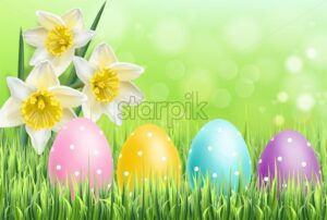 Easter colorful eggs on green grass background Vector realistic. Spring holiday banner. 3d detailed poster template - starpik