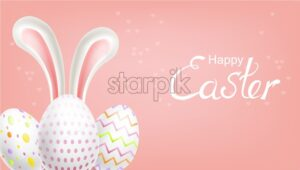 Easter eggs Vector realistic. Spring holiday banner. 3d detailed poster template - starpik
