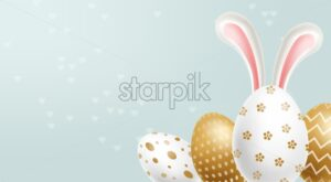 Easter painted golden eggs Vector realistic collection. Abstract ornamented cute design. 3d detailed set - starpik